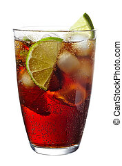 Cuba Libre cocktail with lime isolated on white background
