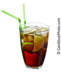 Cuba Libre cocktail with straws isolated on white background