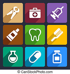 Dental flat icons set 9 - Dental flat icons set for Web and...