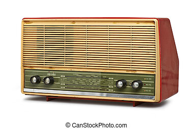 grungy vintage radio isolated clipping path
