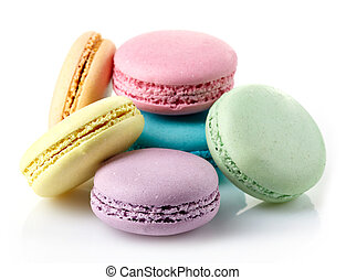 Macaroons - Colorful macaroons on white background