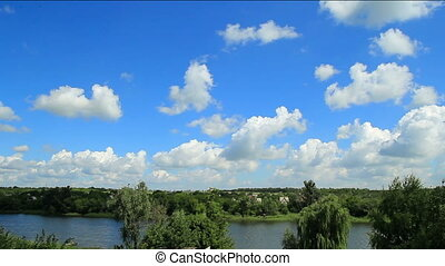 Clouds and blue sky over the river