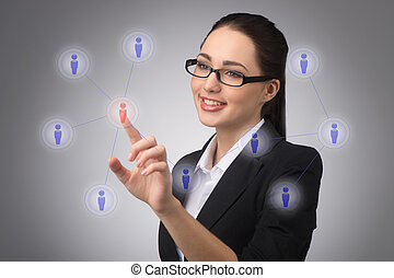 Managing your contact network - businesswoman managing her...