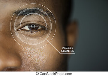 Scan security - Scan for security or identification. Eye...