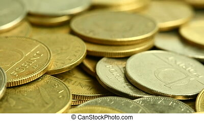 Coins - Pile of coins moving