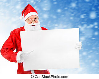 Santa Claus with Blank Board - Santa Claus with Empty white...