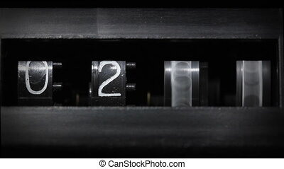old mechanical counter counts numbers from 0 to 2380 - macro