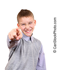 Boy Pointing at You - Mocker Boy pointing at You Isolated on...