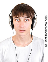Young Man in Headphones - Surprised Young Man in Headphones...