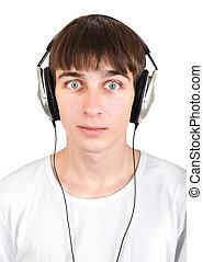 Young Man in Headphones - Surprised Young Man in Headphones...