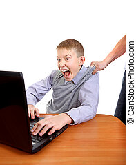 Parent dragging Son from Laptop Isolated on the White...