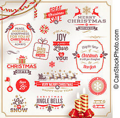 Set of Christmas signs and emblems - Vector set of Christmas...