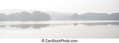 Panorama of lake and trees in mist