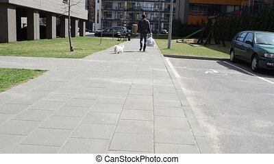 man leash dog - man goes along the sidewalk spring afternoon...