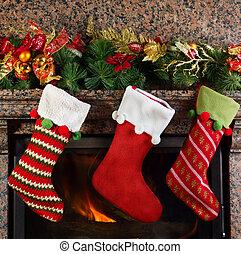 Christmas stocking on fireplace background
