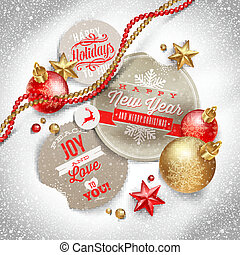 Labels with Christmas greetings - Cardboard labels with...
