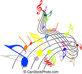 Music theme - colorful notes on white background