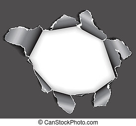 Hole in the paper - Hole in the sheet of paper - black and...