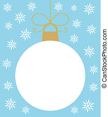 White Christmas ball in snowflakes. Vector illustration