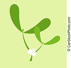 Mistletoe with fruits twig. Christmas kiss plant symbol