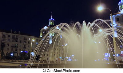 Fountain at night - Fountain at main street of Zaporizhzhya,...