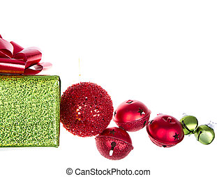 Christmas presents and ornaments isolated on white