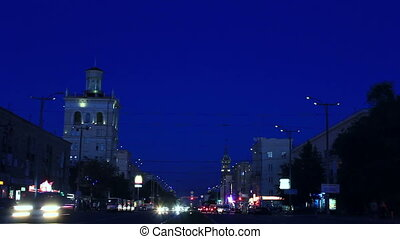 Evening with flare up lanterns - Central avenue of...