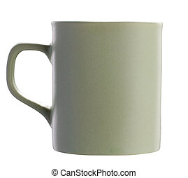 Green matt ceramic cup isolated on white