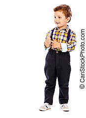 Full lenght portrait of an adorable little boy showing thumbs up isolated one white