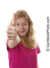 Girl with thumbs up isolated on white background