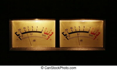stereo decibel meters with backlit - part of sound equipment
