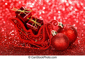 Christmas card with beautiful shiny decoration over red...