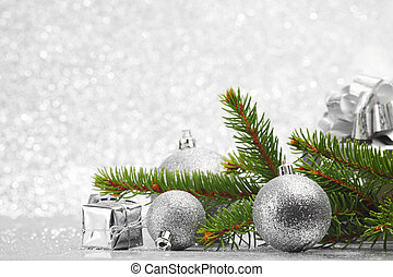 Christmas card with natural fir, gifts and decoration