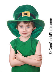 leprechaun boy isolated on white - Happy young leprechaun...