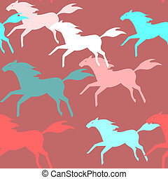 Running horses seamless pattern