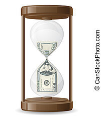 one hundred dollars leaking in the hourglass vector illustration isolated on white background