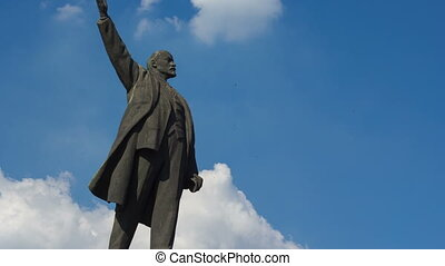 Monument to Vladimir Lenin. Blue sky background, summer...