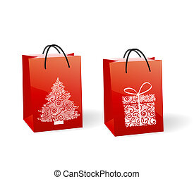 paper bags - Red paper bags with a Christmas theme