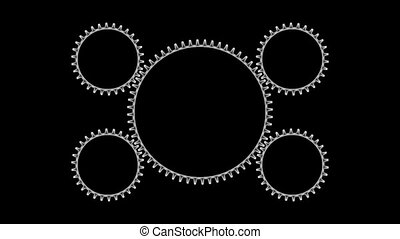 Gears3-11 - Motion background with set of rotating metallic...