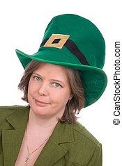 Irish woman with green hat - Irish woman with green...