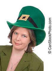 Irish woman with green hat - Irish woman with green...