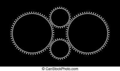 Gears3-12 - Motion background with set of rotating metallic...