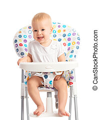 baby sitting in a high chair isolated - happy baby sitting...