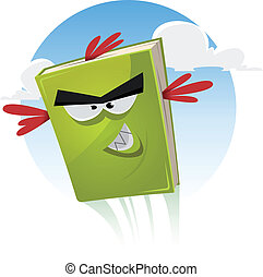 Toon Bird Book Character Flying - Illustration of a funny...