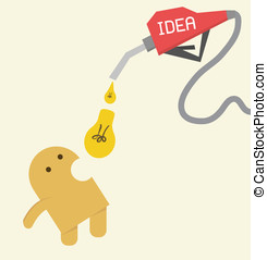 Idea, Little yellow Eat light bulb to be more creative,...