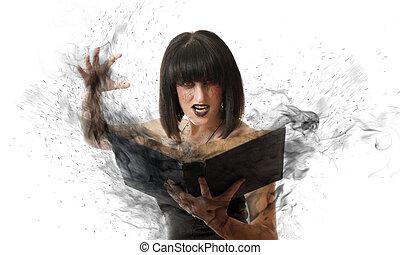 woman with a magic book - evil woman casts a black magic...