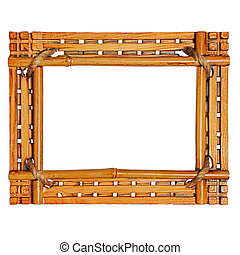 Bamboo photo frame isolated on white background