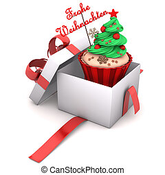 Gift Cupcake Merry Christmas - Openend Gift with cupcake and...