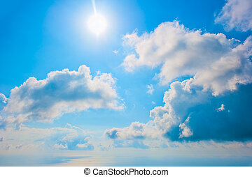 Clear blue sky and beautiful clouds
