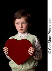 Young boy with valentine - Young boy with a valentine box of...